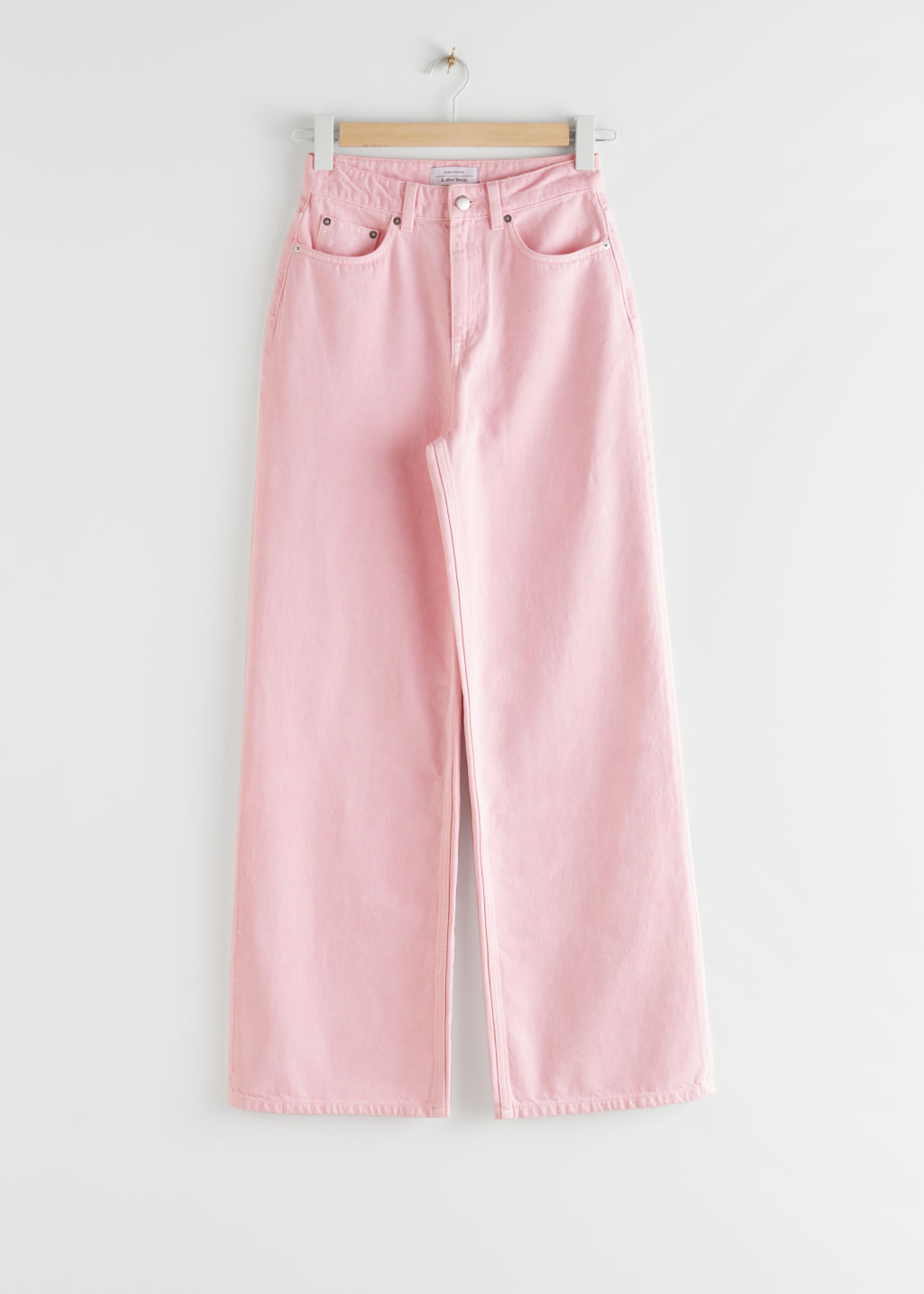 StillLife Front Image of Stories High Rise Culotte Jeans in Pink