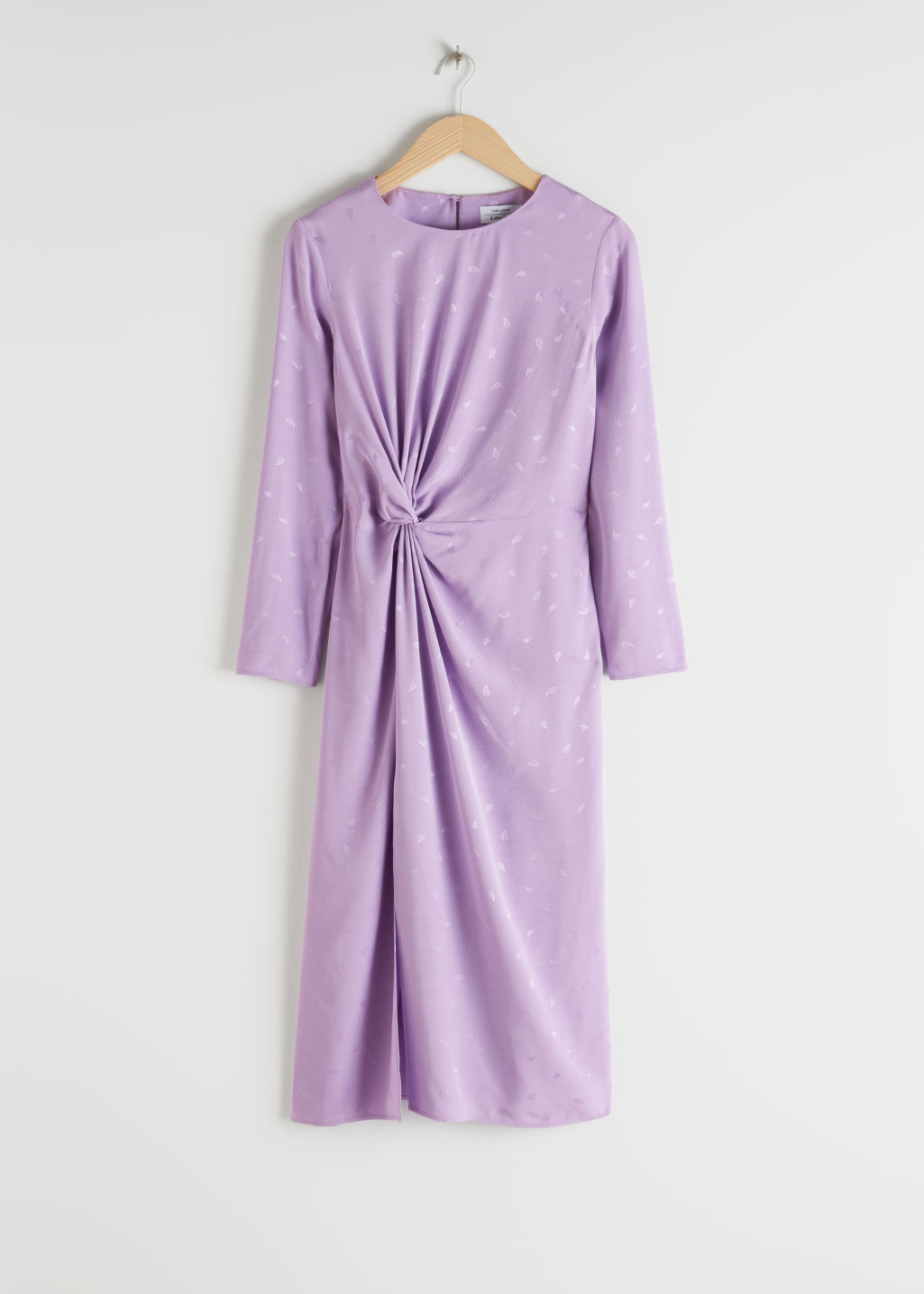 Front image of Stories striped twist knot midi dress in purple