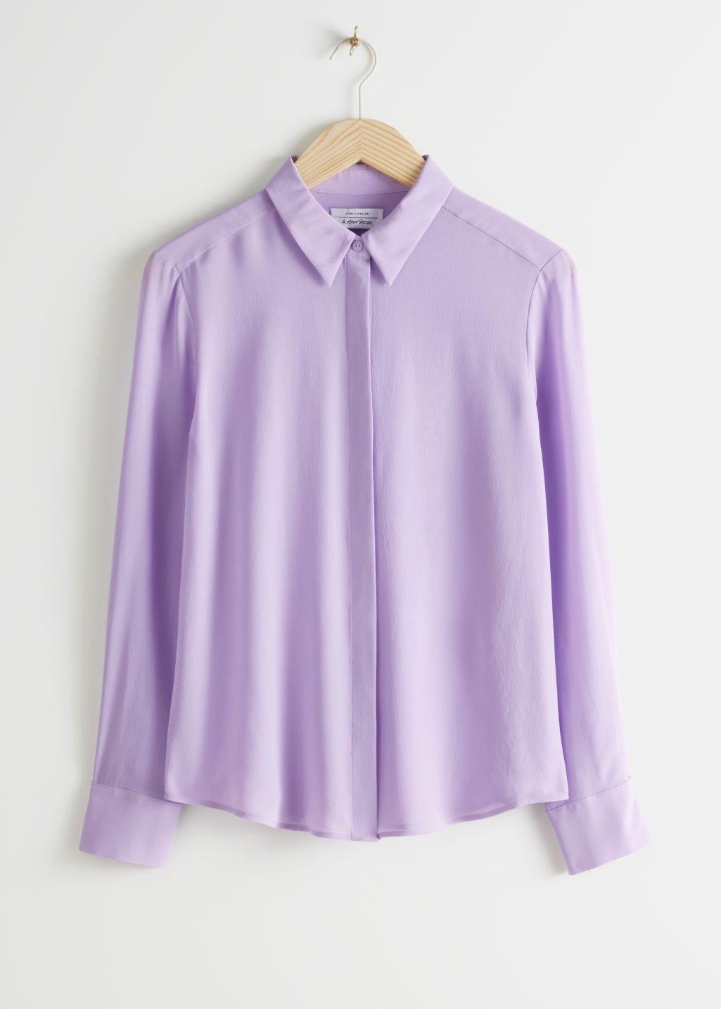 StillLife Front Image of Stories Straight Fit Silk Shirt in Purple