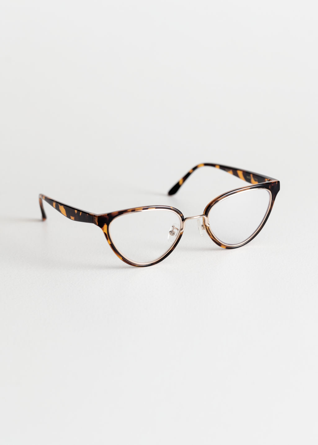 Front image of Stories cat eye glasses in black