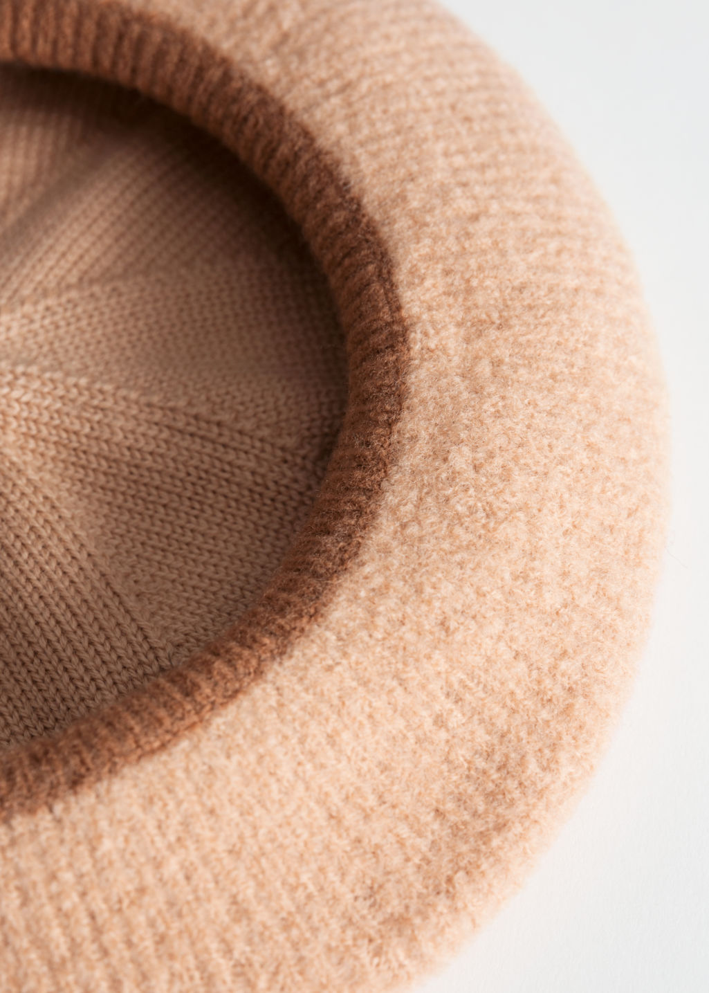 Back image of Stories ribbed wool beret in beige