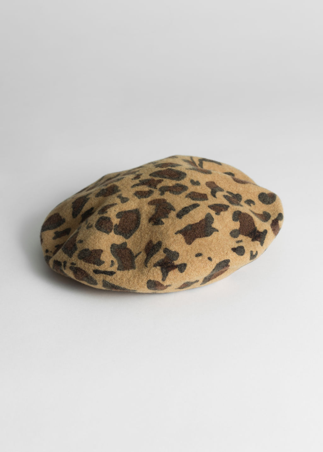 Front image of Stories leopard wool blend beret in beige ... c93d48f1d4d