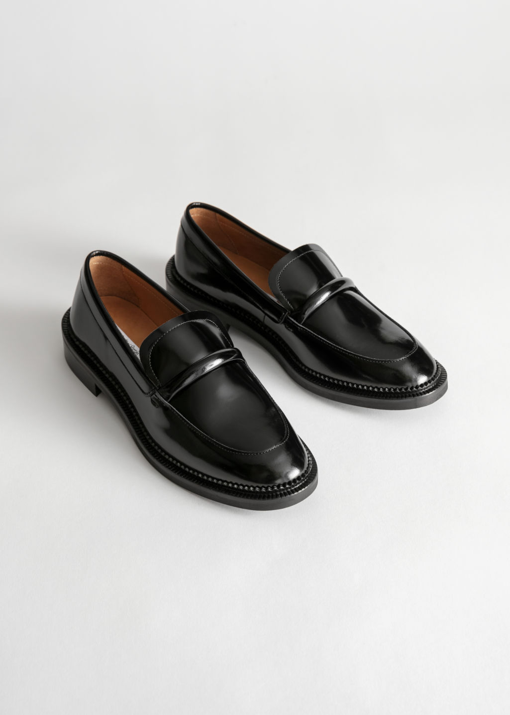 f3e8a01b9c3 Leather Penny Loafers - Black - Loafers -   Other Stories