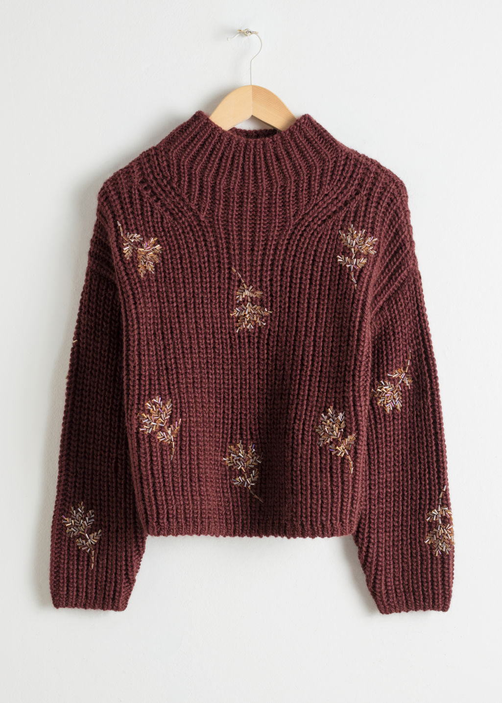 Front image of Stories beaded floral knit sweater in red