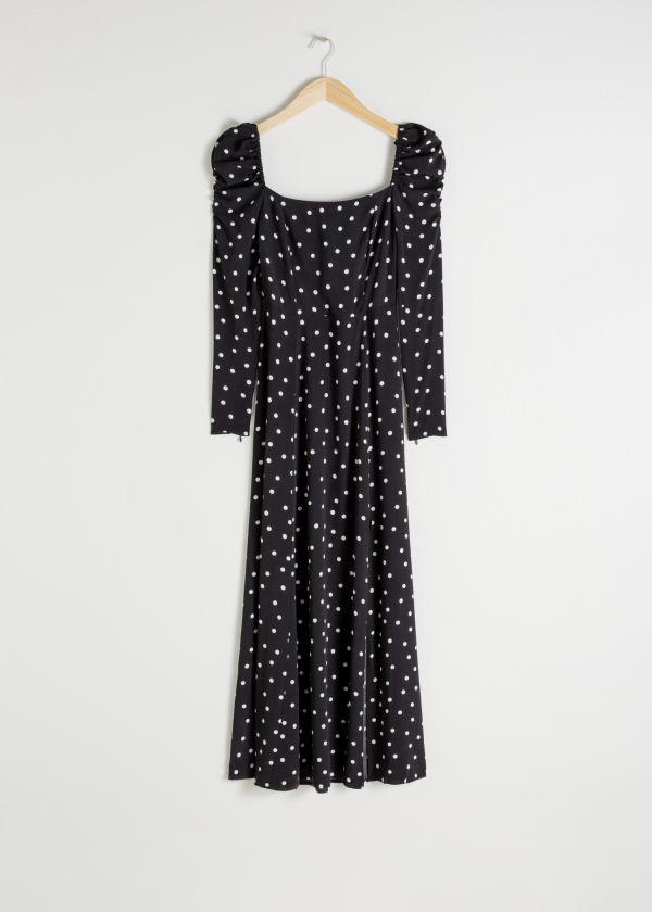 Ruched Polka Dot Maxi Dress