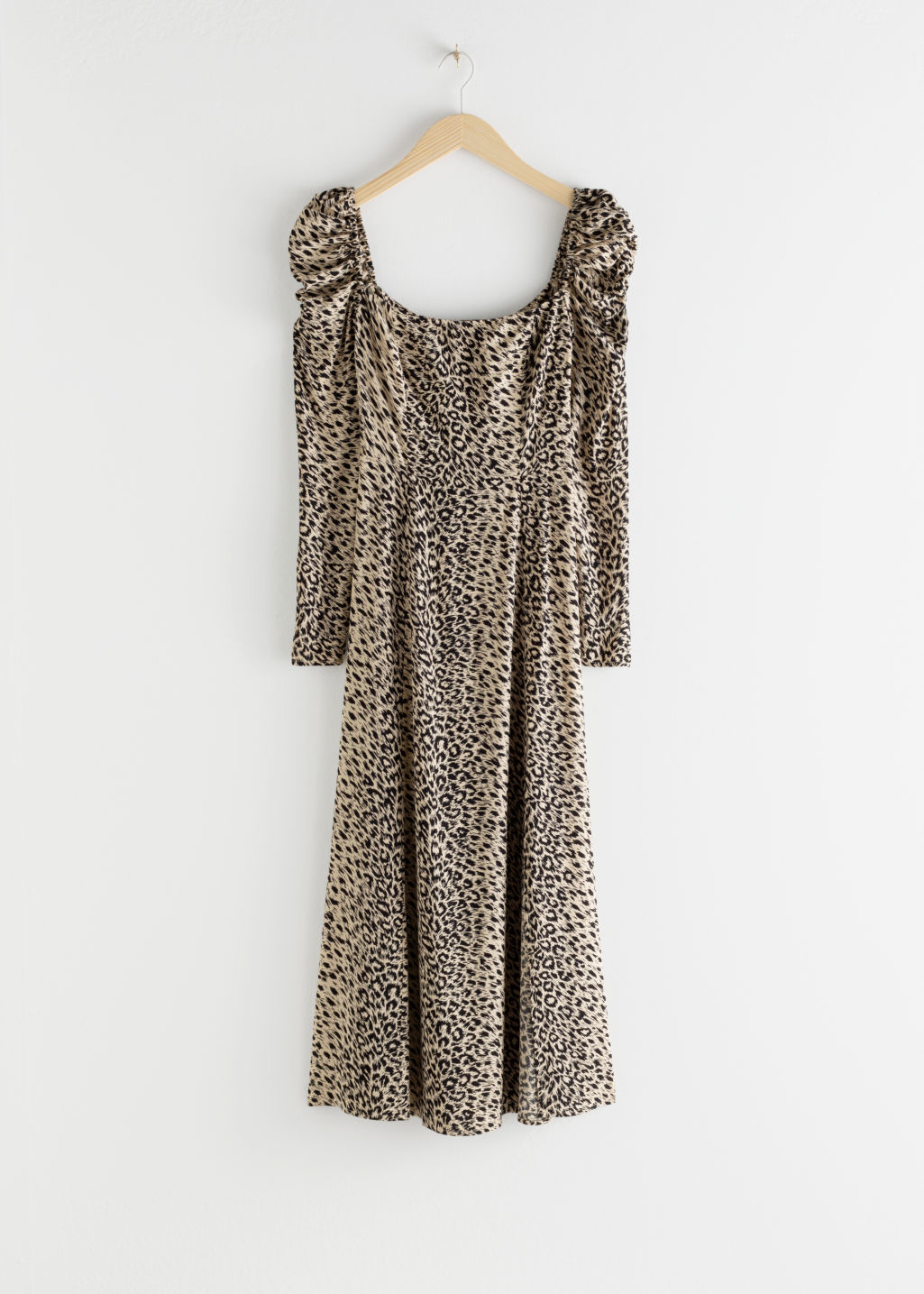 Front image of Stories ruched maxi dress in beige