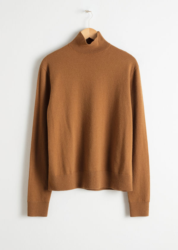 Front image of Stories cashmere turtleneck in beige