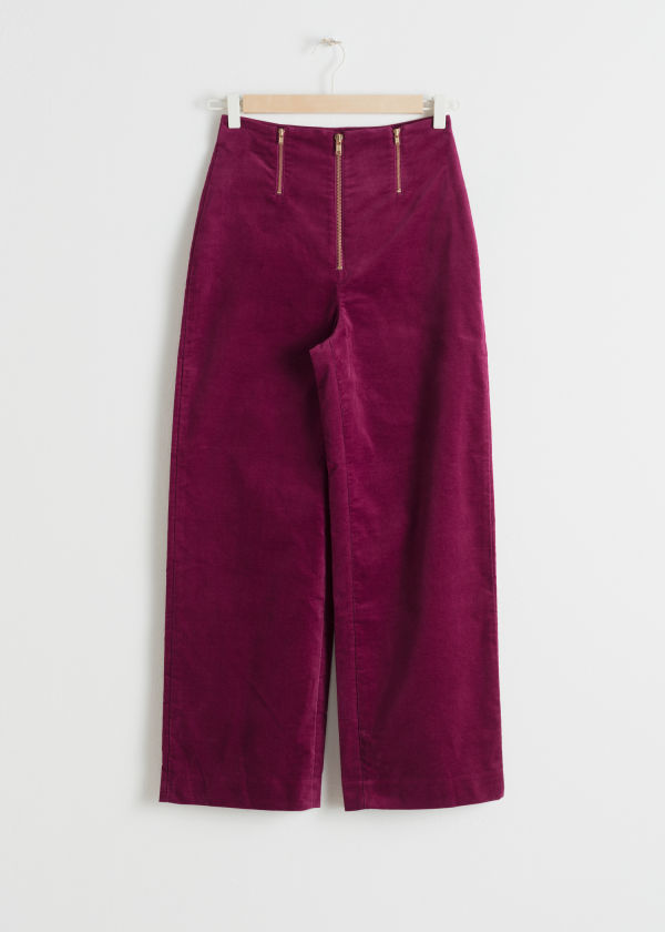 Trio Zipper Velvet Trousers