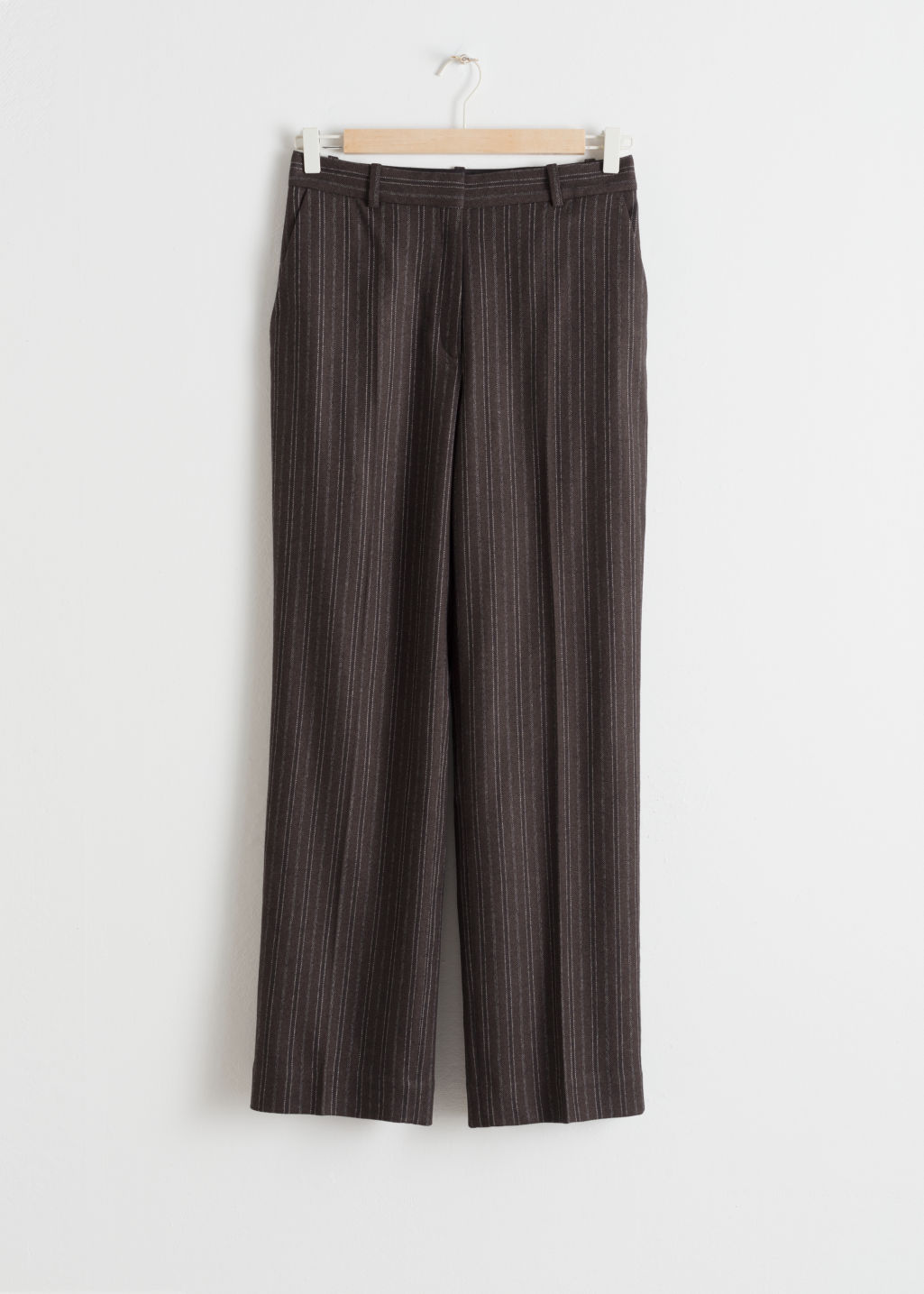 Front image of Stories wool blend pin stripe trousers in beige