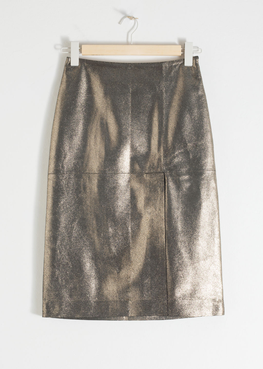 Front image of Stories metallic leather pencil skirt in black