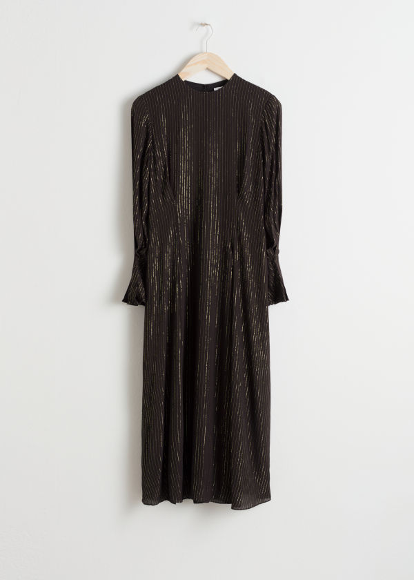 Metallic Pinstripe Maxi Dress