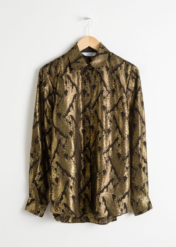 Front image of Stories metallic jacquard lounge shirt in black
