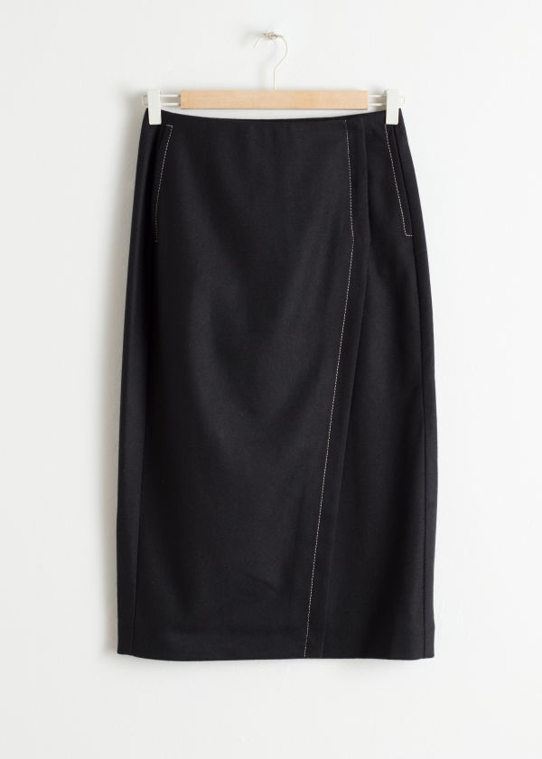 Wool Blend Midi Pencil Skirt