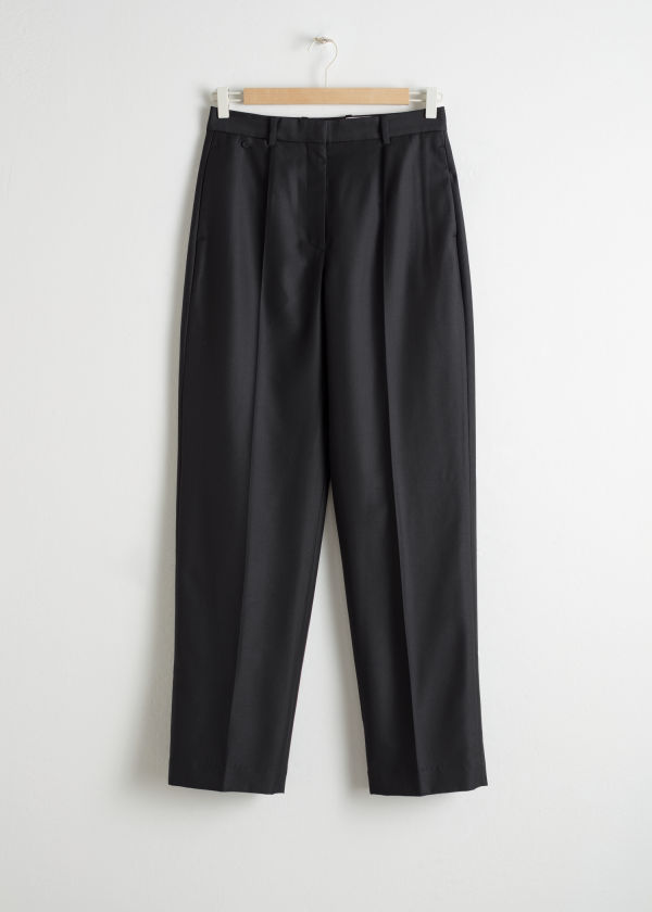 Wool Blend Tapered Trousers