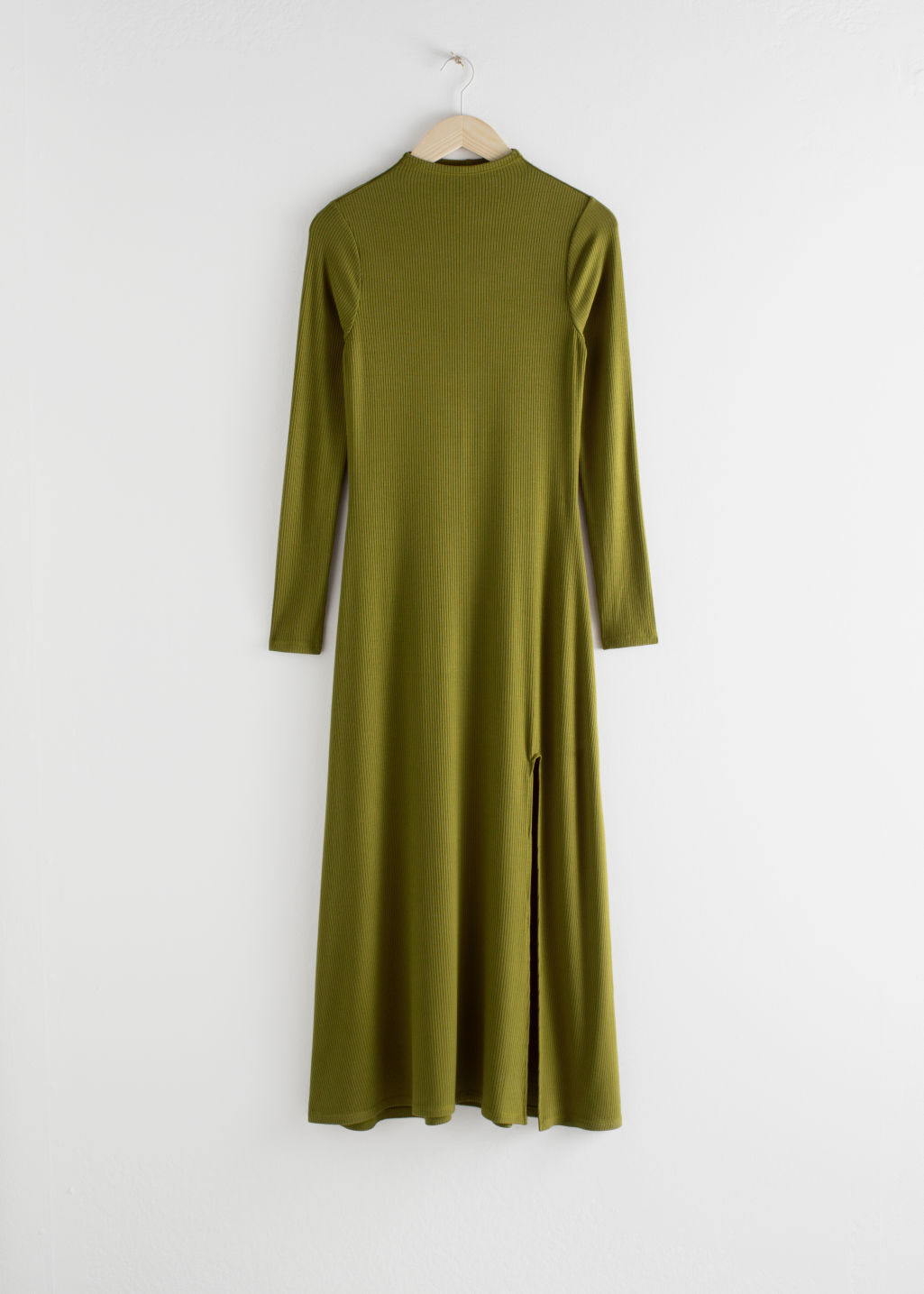 Front image of Stories ribbed mock neck maxi dress in green