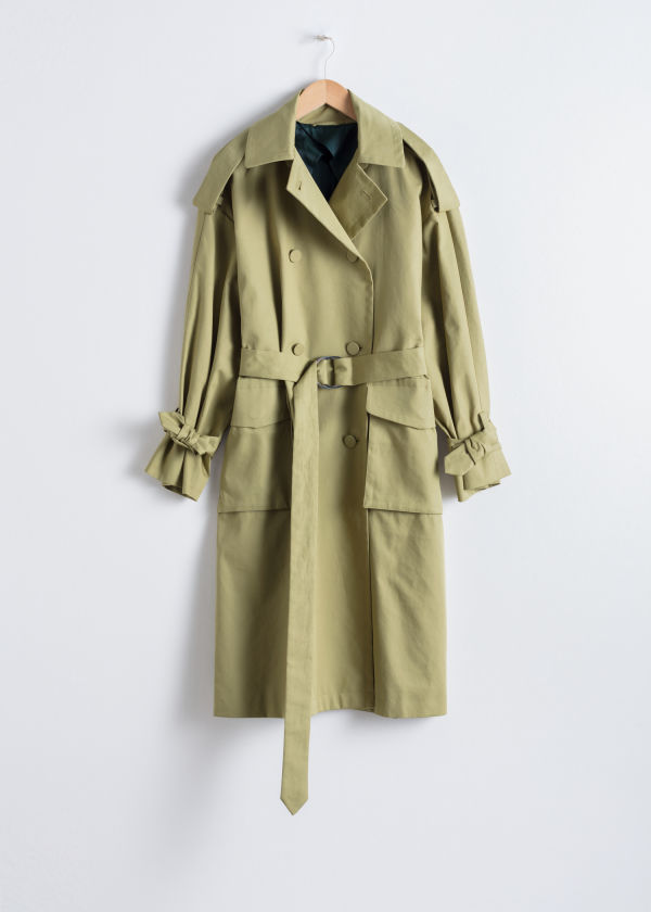 Front image of Stories oversized belted trenchcoat in beige