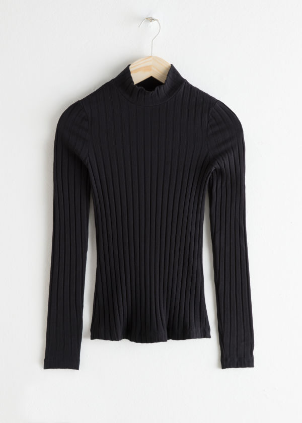 Fitted Stretch Cotton Turtleneck