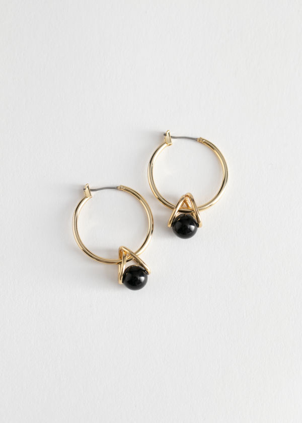 Sphere Wire Hoop Earrings