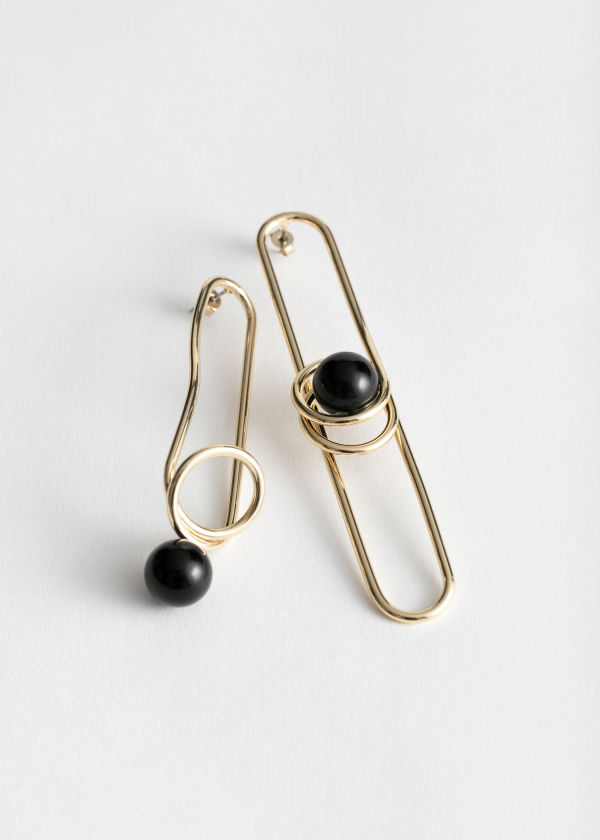 Asymmetric Sphere Wire Earrings