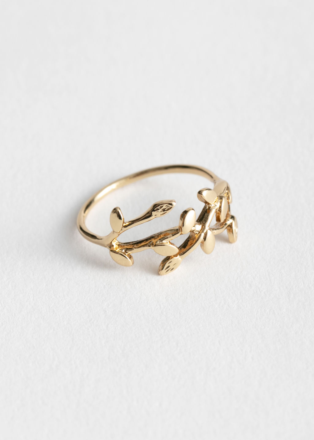Front image of Stories olive branch ring in gold