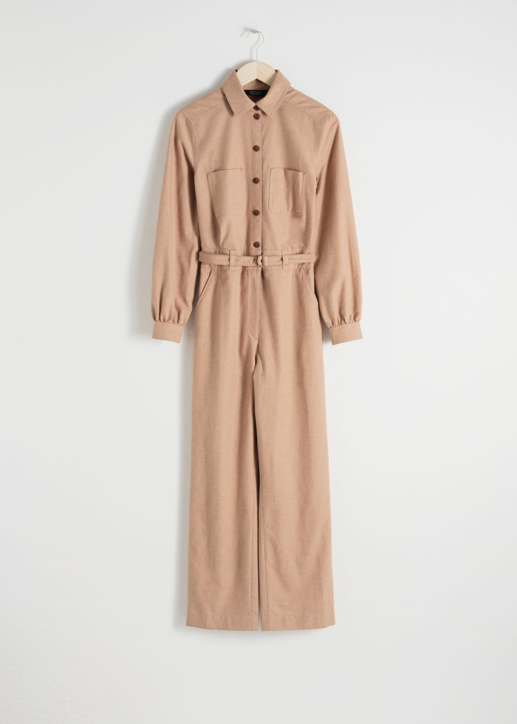 Front image of Stories workwear boilersuit in beige