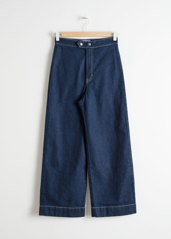 Front image of Stories high waisted flared jeans in blue