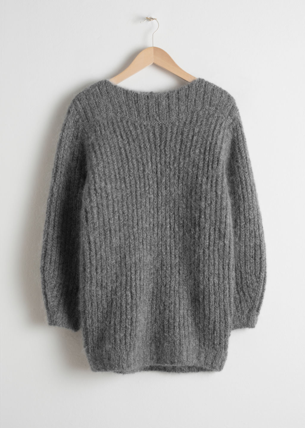 Front image of Stories oversized wool blend sweater in grey