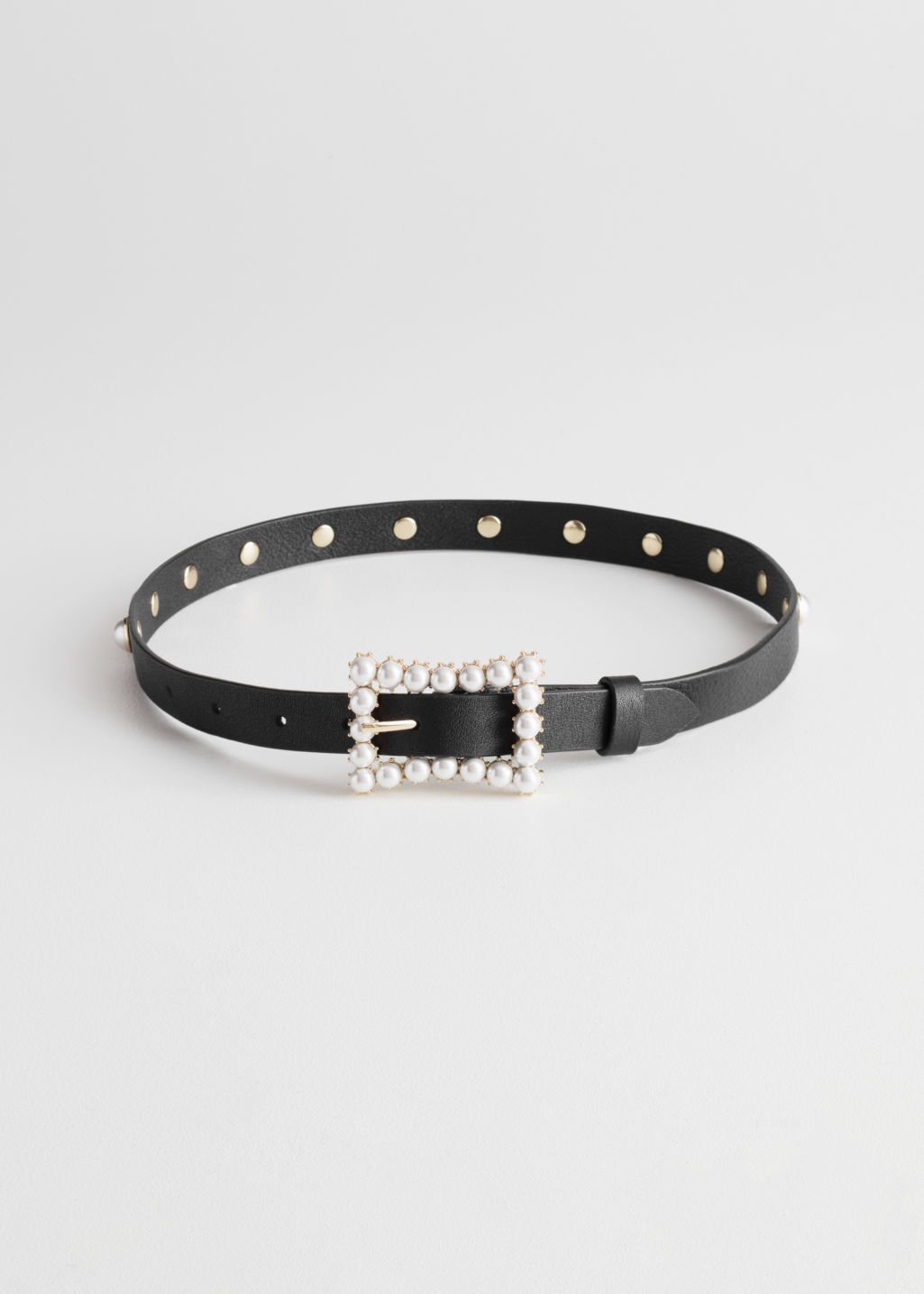Front image of Stories pearl buckle leather belt in black