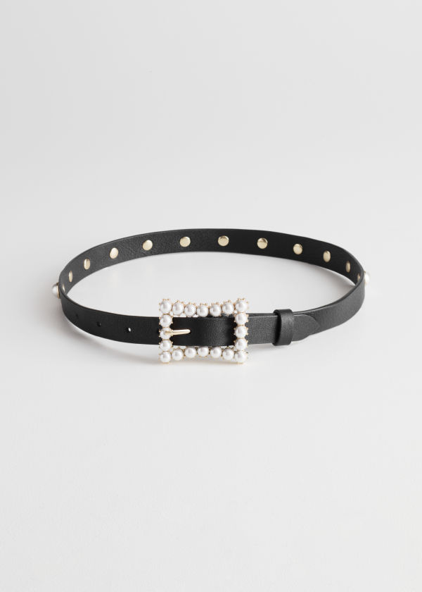 Pearl Buckle Leather Belt