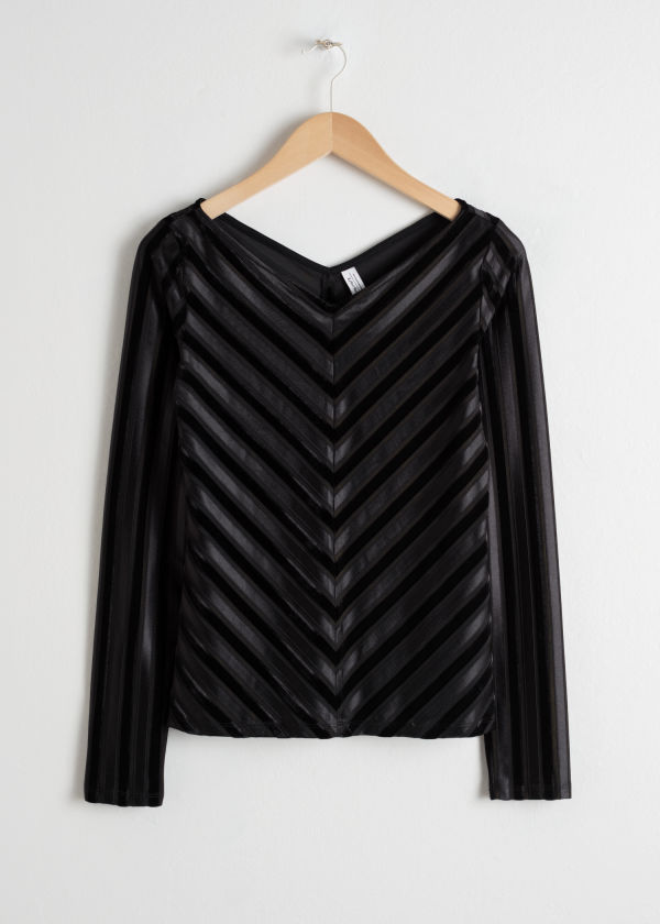 Velvet Chevron Stripe Top
