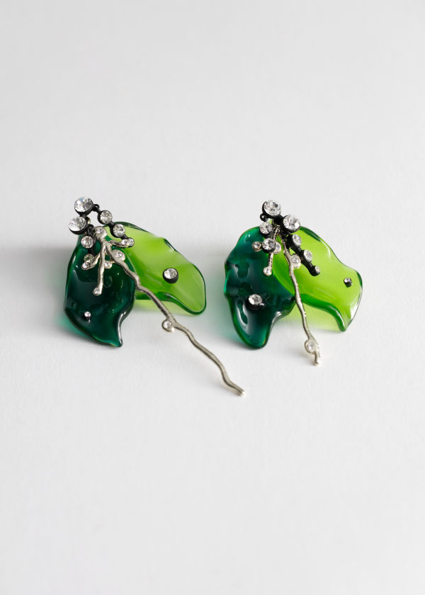 Mismatched Rhinestone Lily Pad Earrings