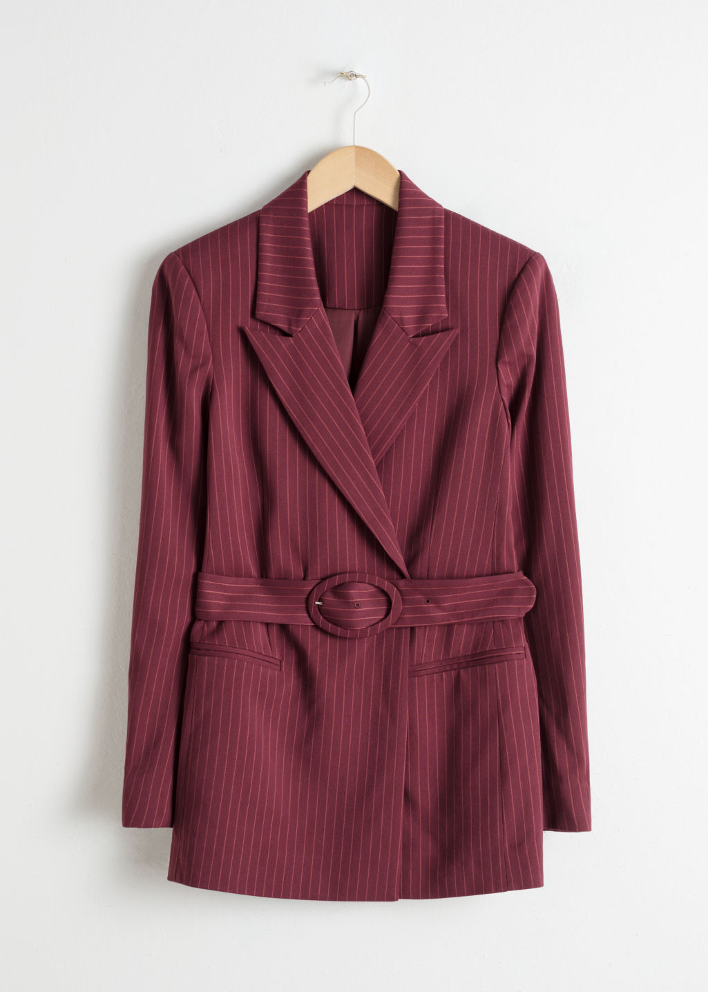 Front image of Stories belted pinstripe blazer in red