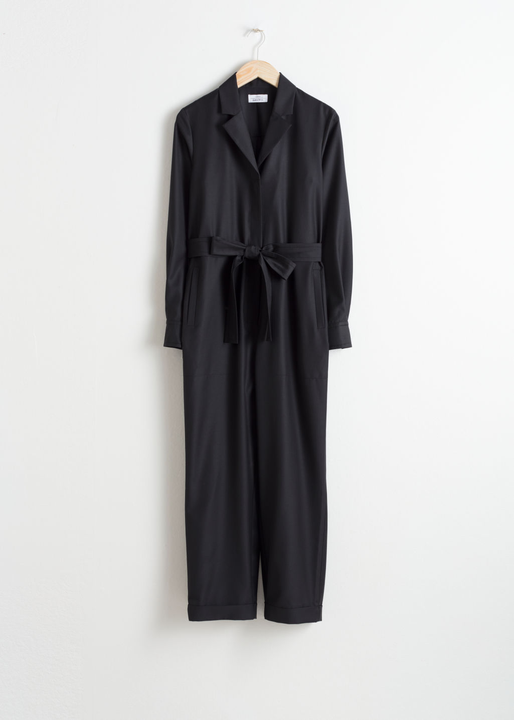 Front image of Stories belted wool blend boilersuit  in black