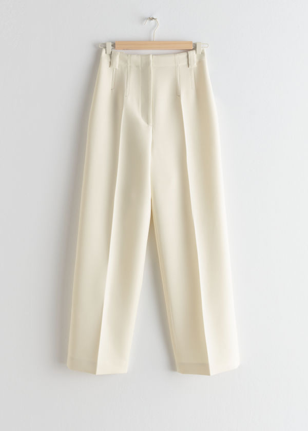 High Waisted Wool Blend Pants