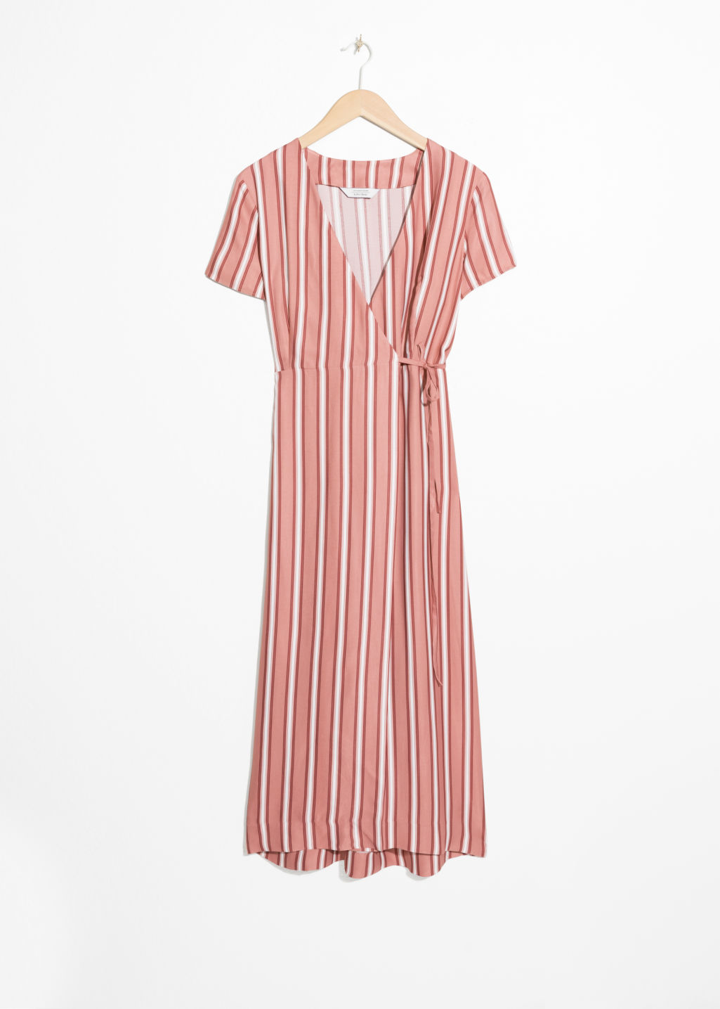 Front image of Stories striped midi wrap dress in pink