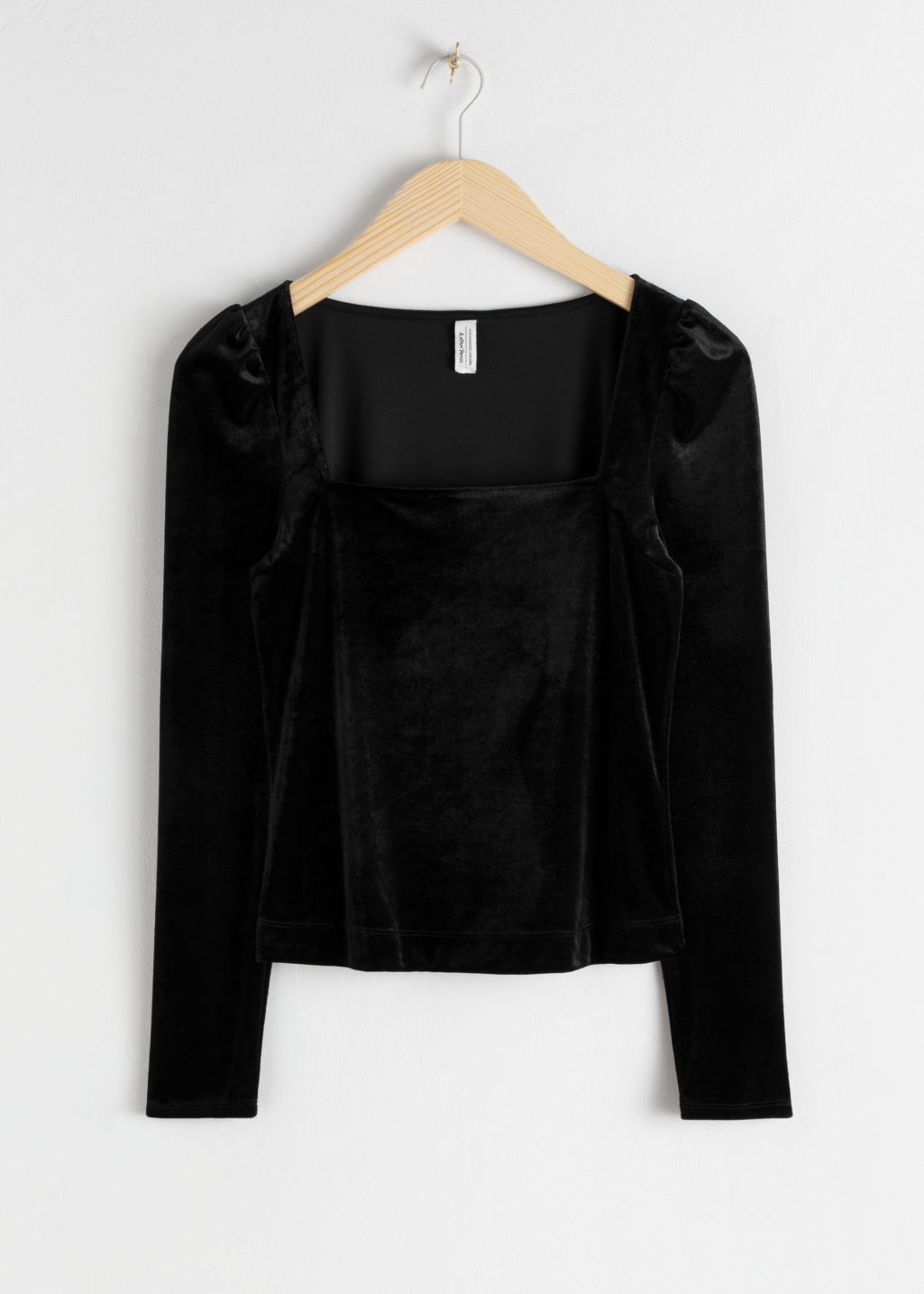 Front image of Stories square neck velvet top in black