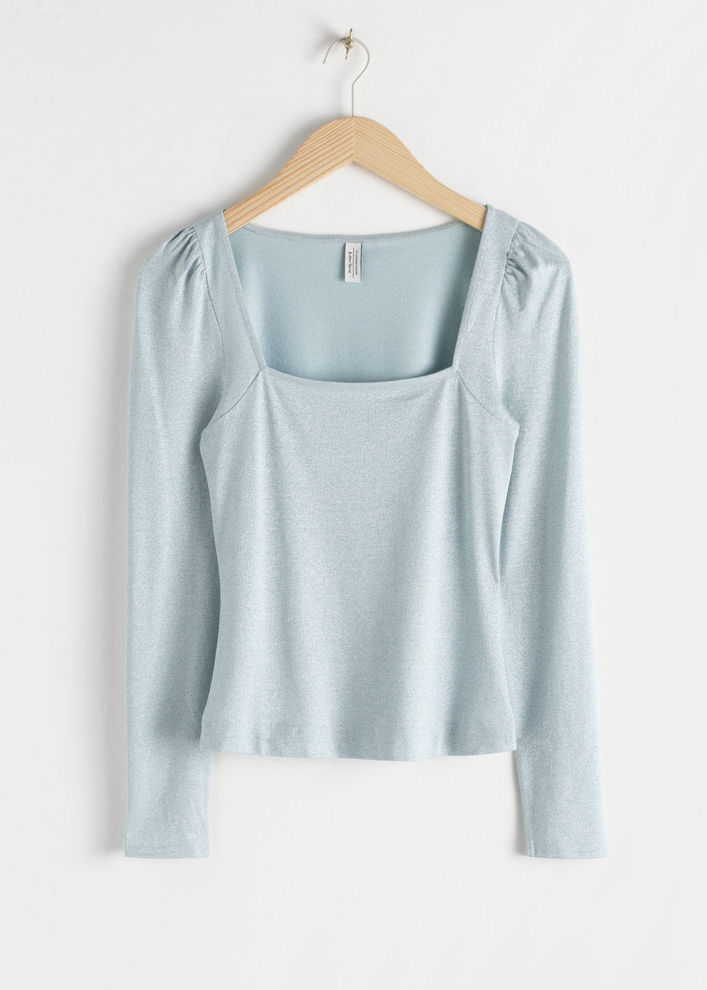 Front image of Stories square neck velvet top in turquoise