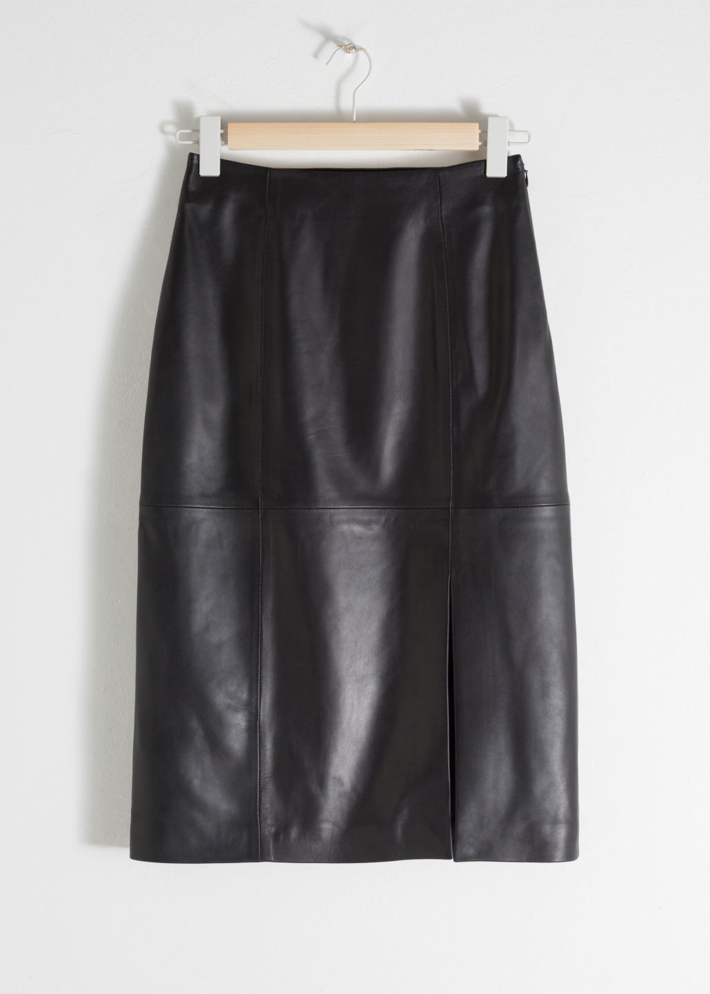 Front image of Stories midi leather pencil skirt in black