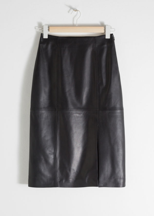 Midi Leather Pencil Skirt