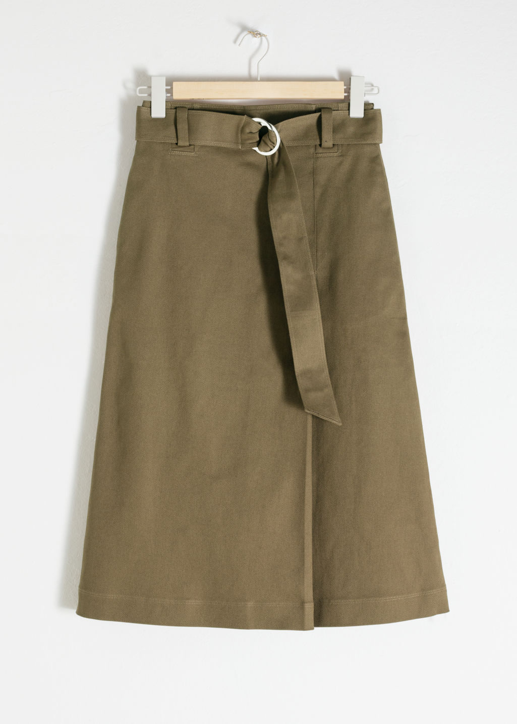 Front image of Stories belted a-line midi skirt in green
