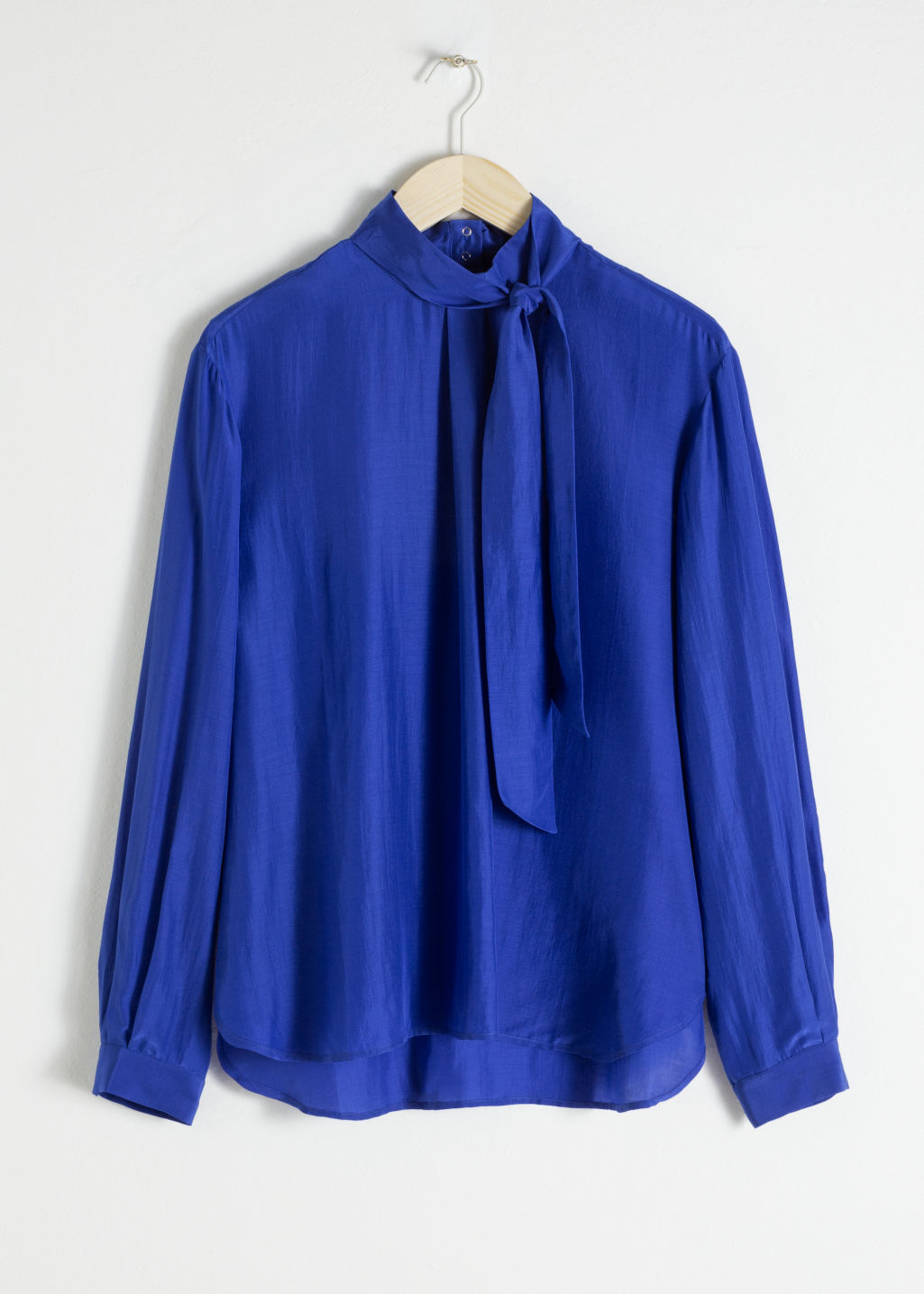 Front image of Stories straight fit pussy bow blouse in blue