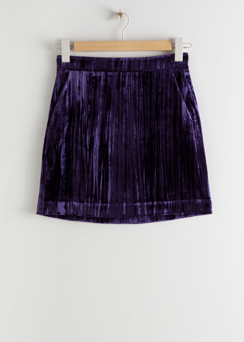 Front image of Stories velvet mini pencil skirt in purple