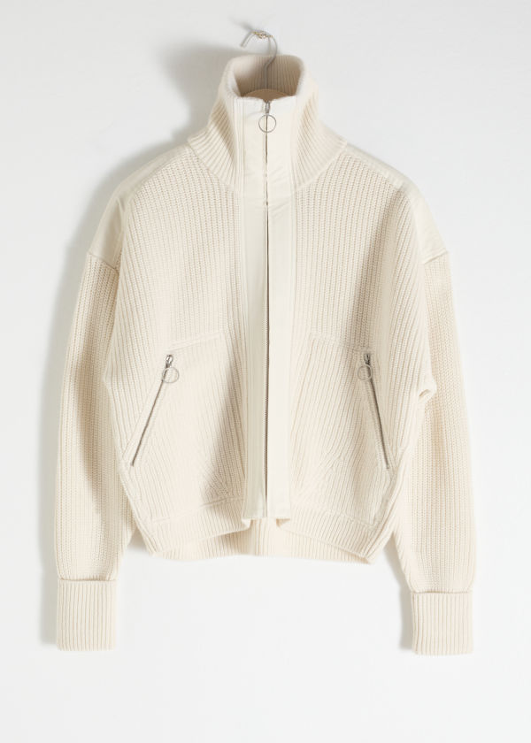 Wool Blend Zippered Turtleneck