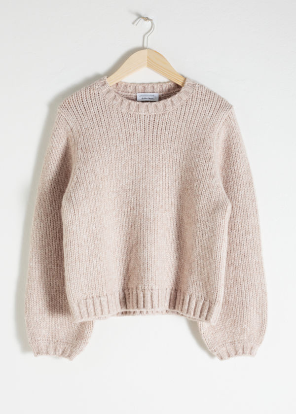 Front image of Stories cropped wool blend sweater in beige