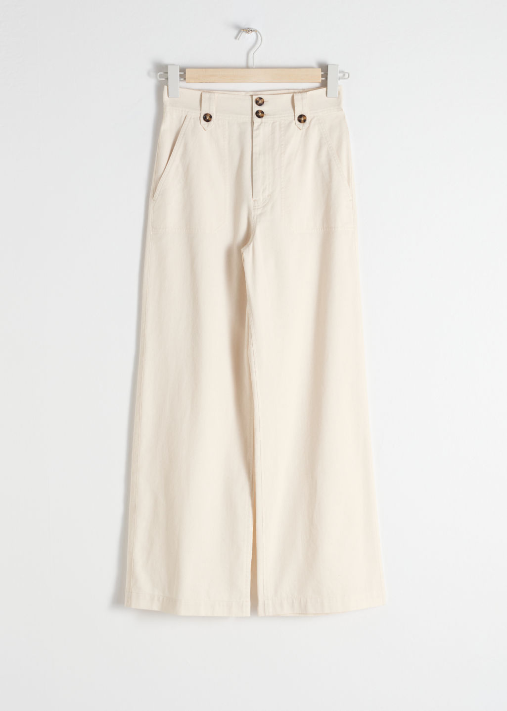 Front image of Stories cotton twill culottes in white