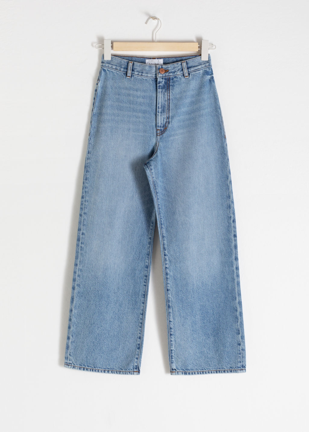 Front image of Stories organic cotton wide fit jeans in blue