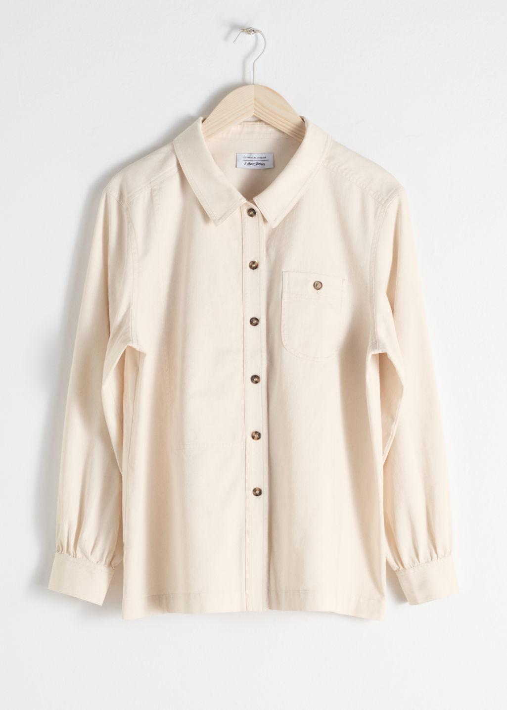 Front image of Stories cotton twill workwear shirt in white