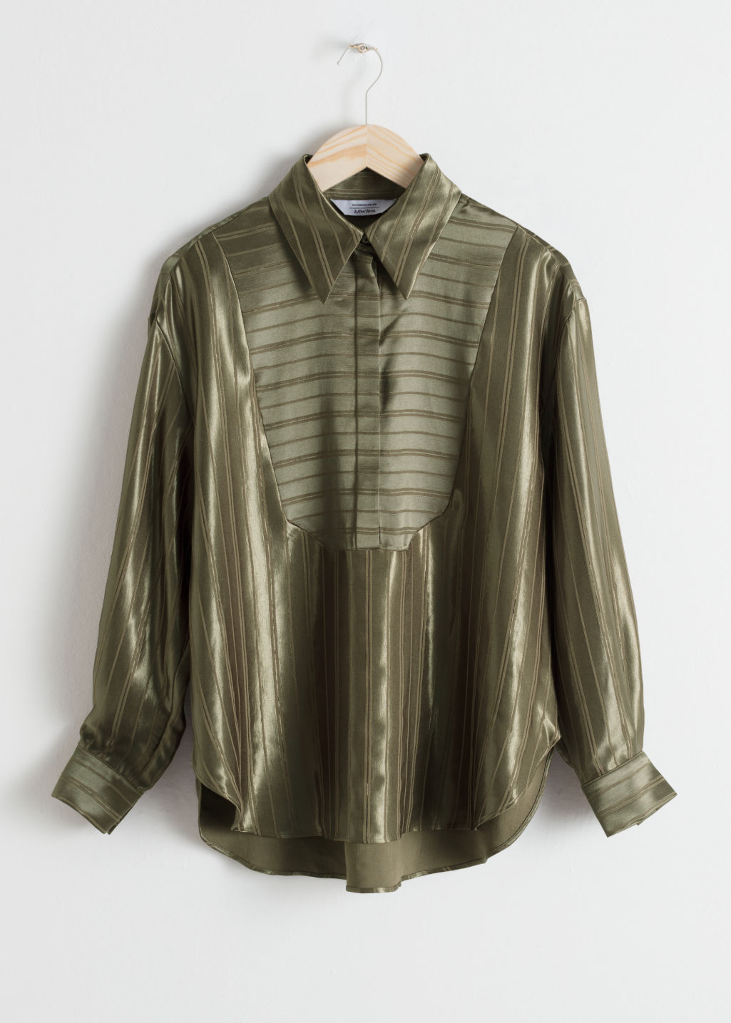 Front image of Stories striped jacquard lounge shirt in green