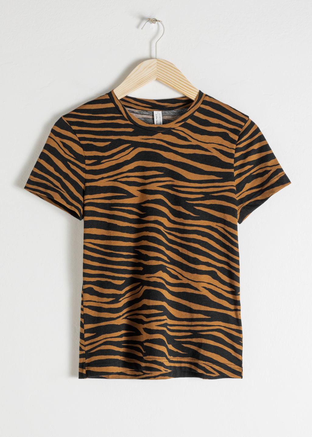 Front image of Stories organic cotton zebra t-shirt in yellow