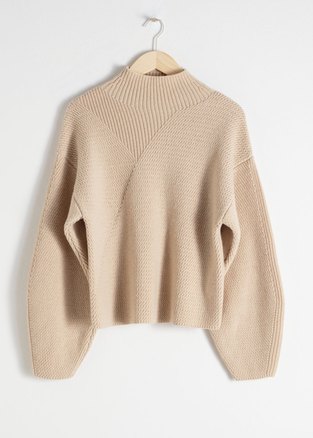 Front image of Stories wool blend mock neck sweater in beige